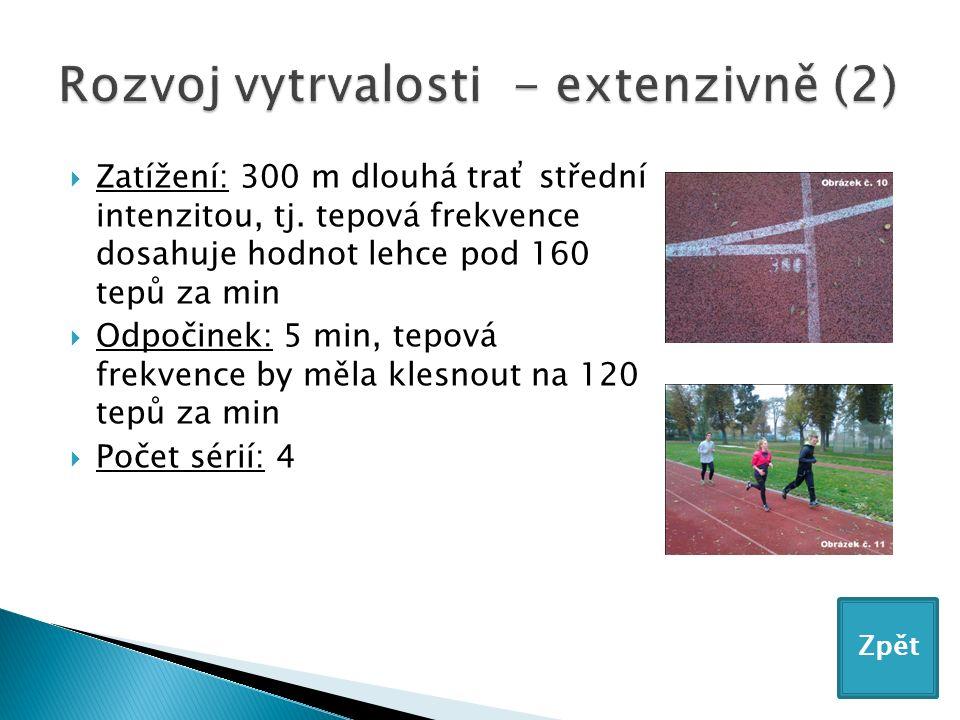  Zatížení: 300 m dlouhá trať střední intenzitou, tj.