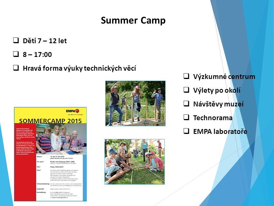 Summer Camp  Děti 7 – 12 let  8 – 17:00  Hravá forma výuky technických věcí  Výzkumné centrum  Výlety po okolí  Návštěvy muzeí  Technorama  EMPA laboratoře