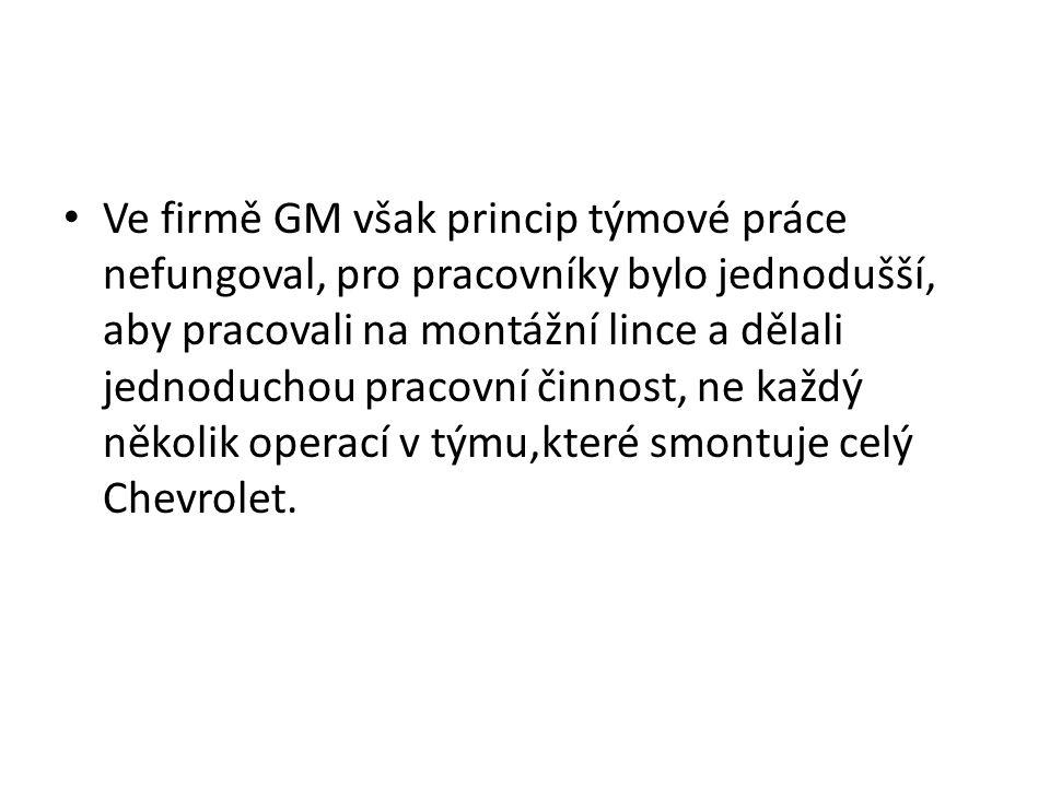 Ve firmě GM však princip týmové práce nefungoval, pro pracovníky bylo jednodušší, aby pracovali na montážní lince a dělali jednoduchou pracovní činnost, ne každý několik operací v týmu,které smontuje celý Chevrolet.