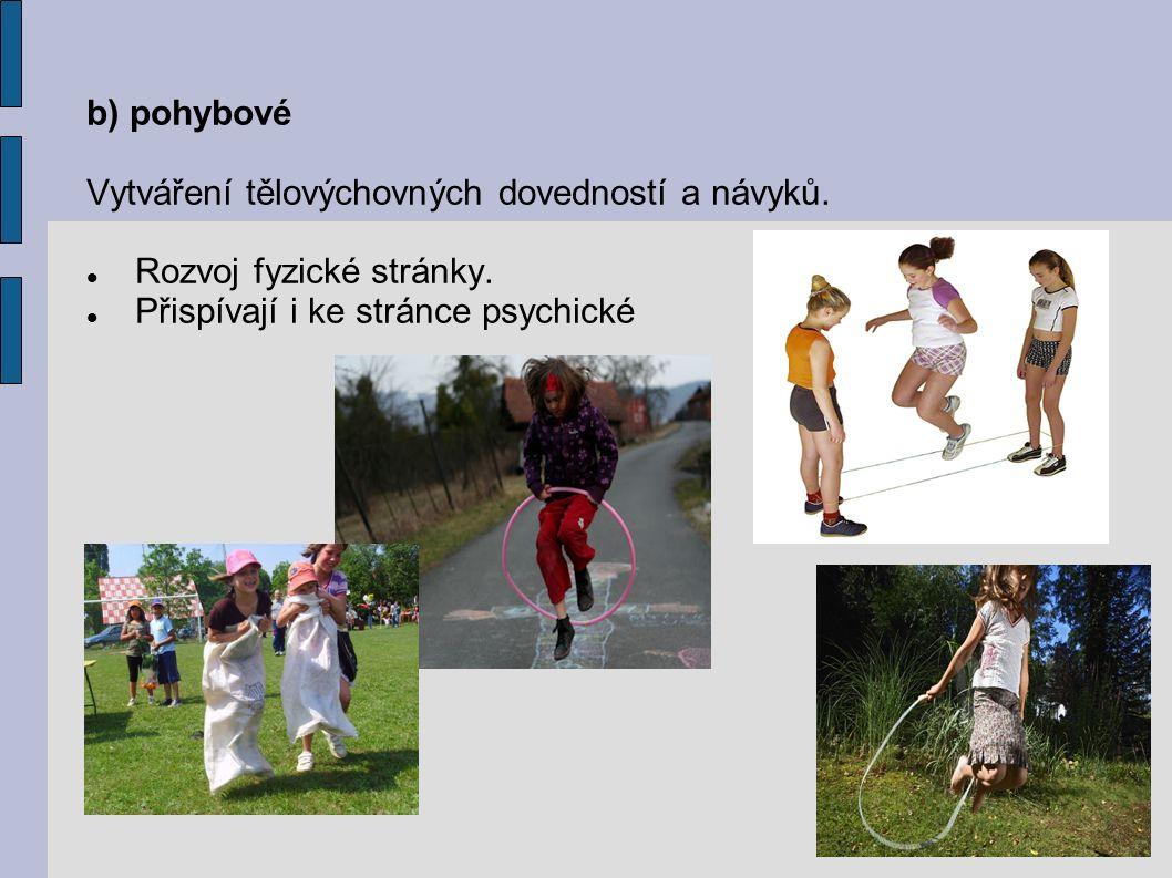 b) pohybové Vytváření tělovýchovných dovedností a návyků.