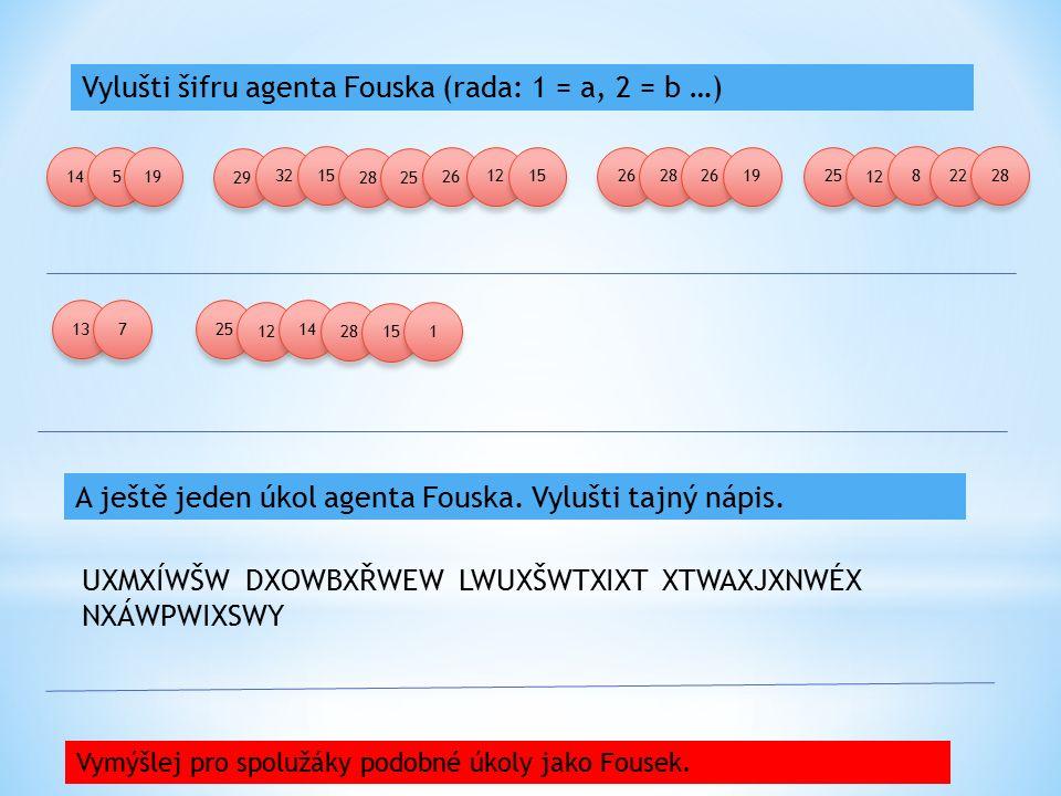 Vylušti šifru agenta Fouska (rada: 1 = a, 2 = b …) A ještě jeden úkol agenta Fouska. Vylušti tajný nápis. UXMXÍWŠW DXOWBXŘWEW LWUXŠWTXIXT XTWAXJXNWÉX