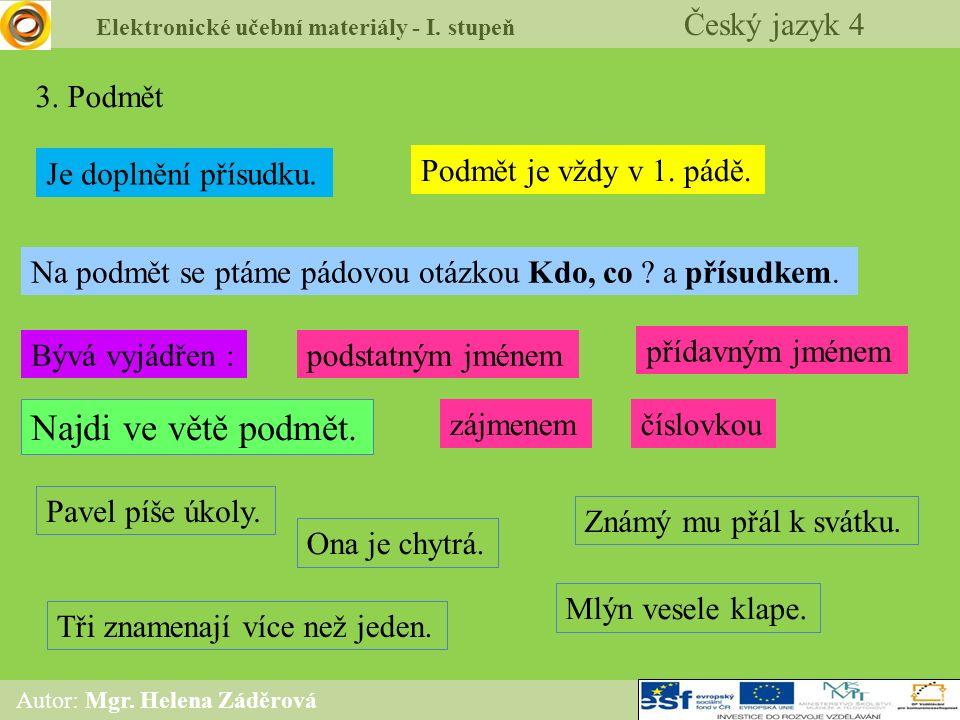 Elektronické učební materiály - I. stupeň Český jazyk 4 Autor: Mgr. Helena Záděrová 3. Podmět Je doplnění přísudku. Podmět je vždy v 1. pádě. Na podmě