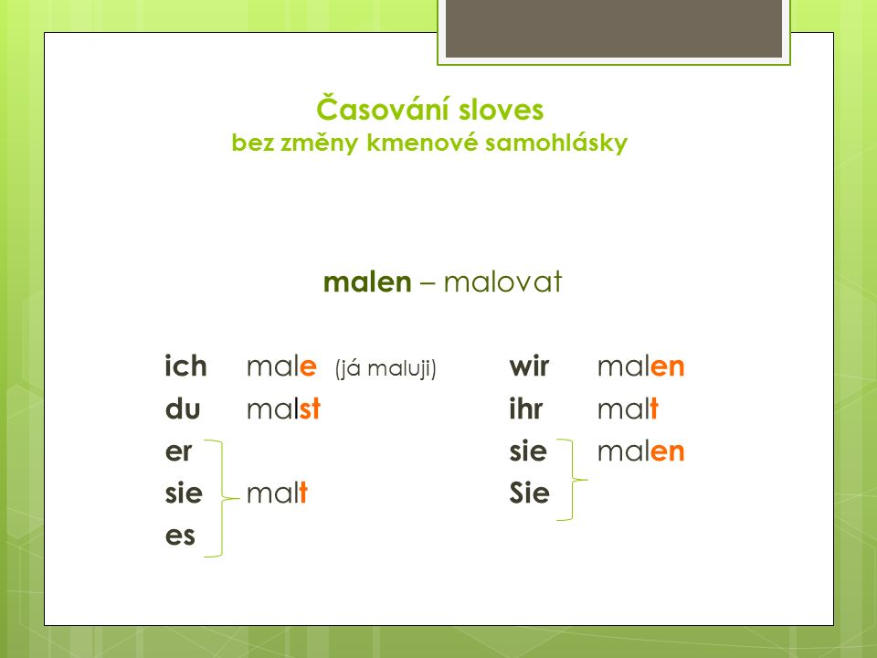 Časování sloves bez změny kmenové samohlásky malen – malovat ich mal e (já maluji) wir mal en du mal stihr mal t ersie mal en sie mal tSie es