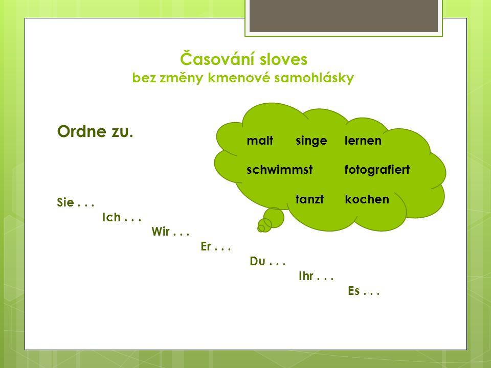 Časování sloves bez změny kmenové samohlásky Ergänze: wir tanz __Sie wohn __ ich sing __ihr bleib __ sie koch __du lach __ ihr spiel __er mal __ du turn __es wein __