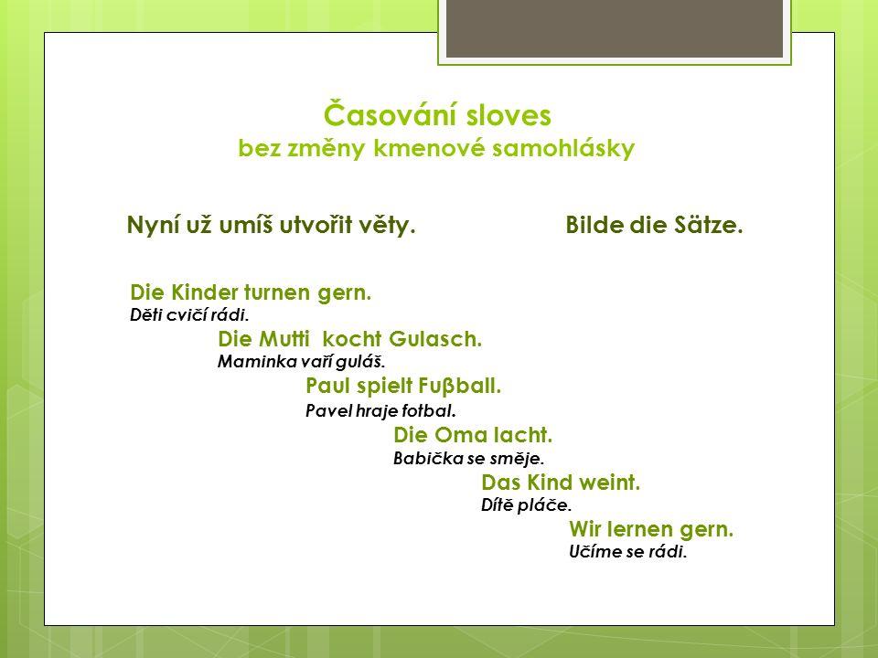 Časování sloves bez změny kmenové samohlásky Nyní už umíš utvořit věty.Bilde die Sätze.