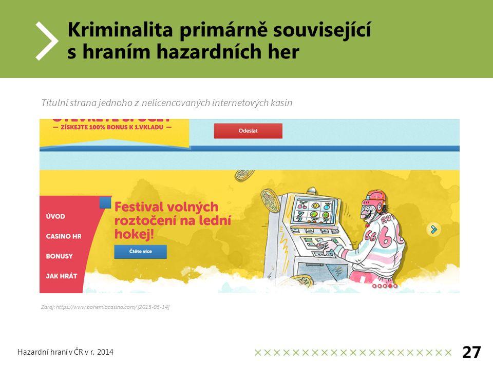 Kriminalita primárně související s hraním hazardních her 27 Hazardní hraní v ČR v r.