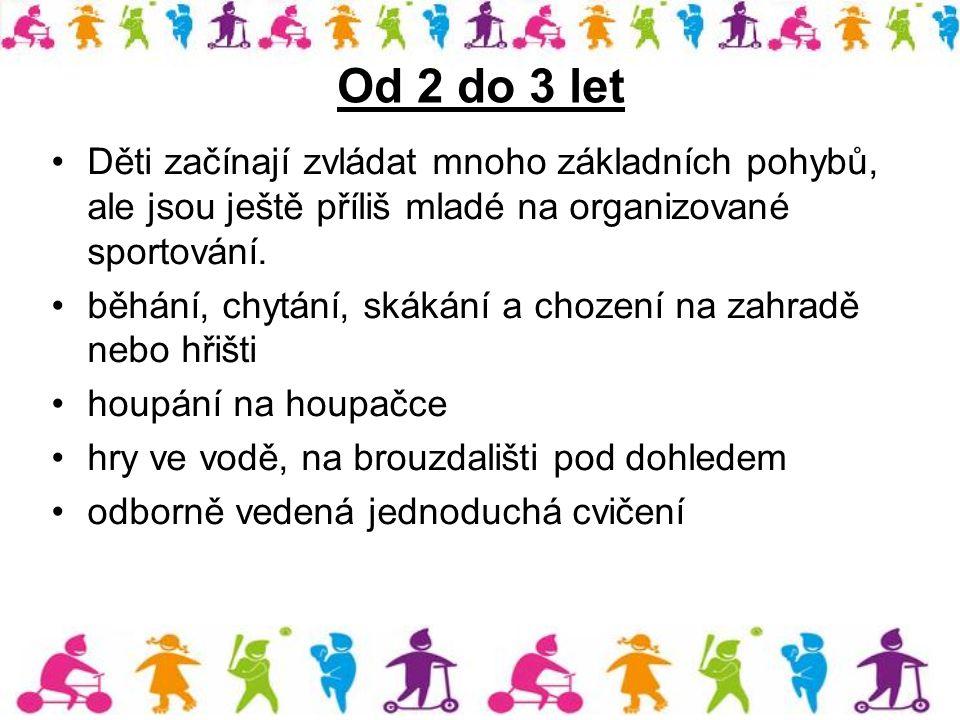 Od 2 do 3 let Děti začínají zvládat mnoho základních pohybů, ale jsou ještě příliš mladé na organizované sportování. běhání, chytání, skákání a chozen