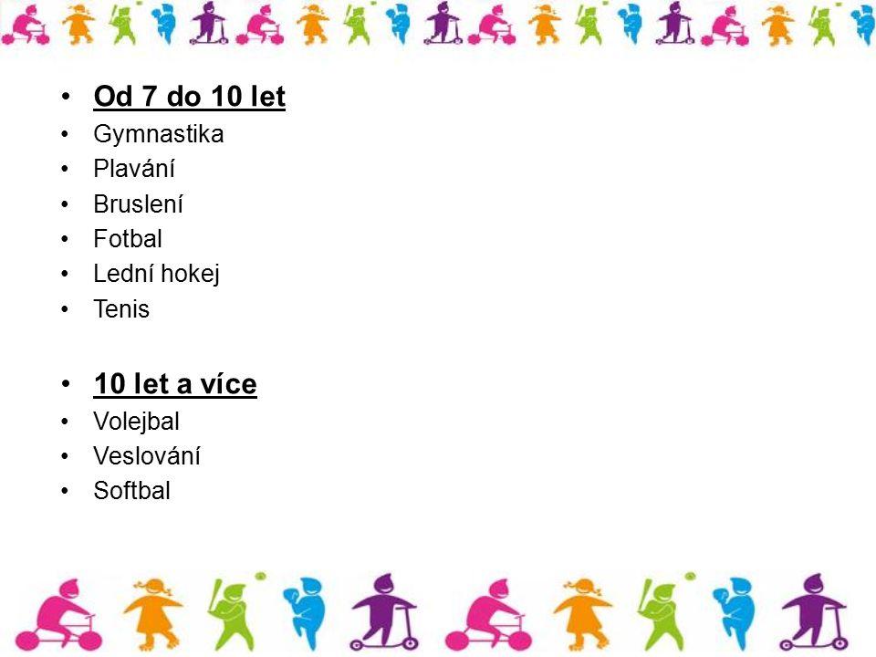 Od 7 do 10 let Gymnastika Plavání Bruslení Fotbal Lední hokej Tenis 10 let a více Volejbal Veslování Softbal