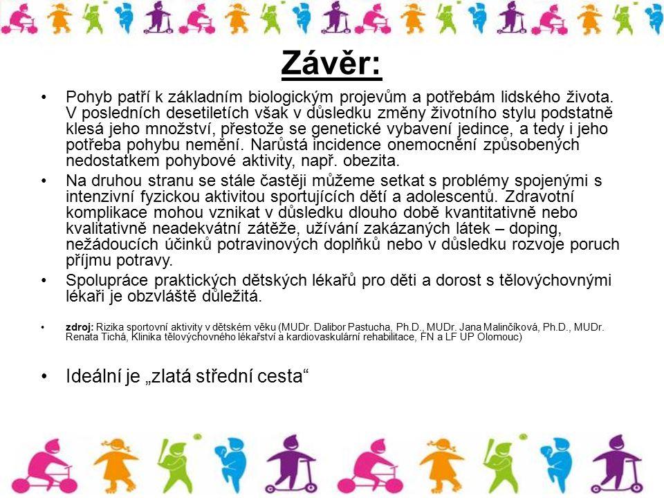 Závěr: Pohyb patří k základním biologickým projevům a potřebám lidského života. V posledních desetiletích však v důsledku změny životního stylu podsta