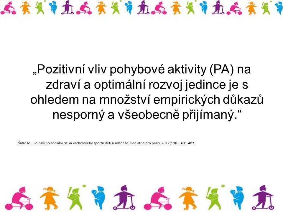 """""""Pozitivní vliv pohybové aktivity (PA) na zdraví a optimální rozvoj jedince je s ohledem na množství empirických důkazů nesporný a všeobecně přijímaný"""