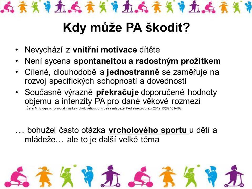 Kdy může PA škodit? Nevychází z vnitřní motivace dítěte Není sycena spontaneitou a radostným prožitkem Cíleně, dlouhodobě a jednostranně se zaměřuje n