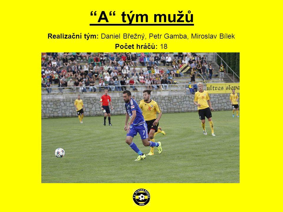 A tým mužů Realizační tým: Daniel Břežný, Petr Gamba, Miroslav Bílek Počet hráčů: 18