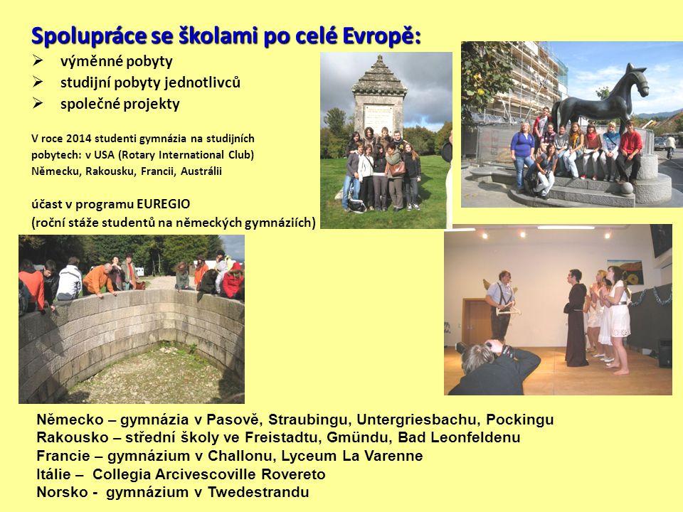 Spolupráce se školami po celé Evropě:  výměnné pobyty  studijní pobyty jednotlivců  společné projekty V roce 2014 studenti gymnázia na studijních p