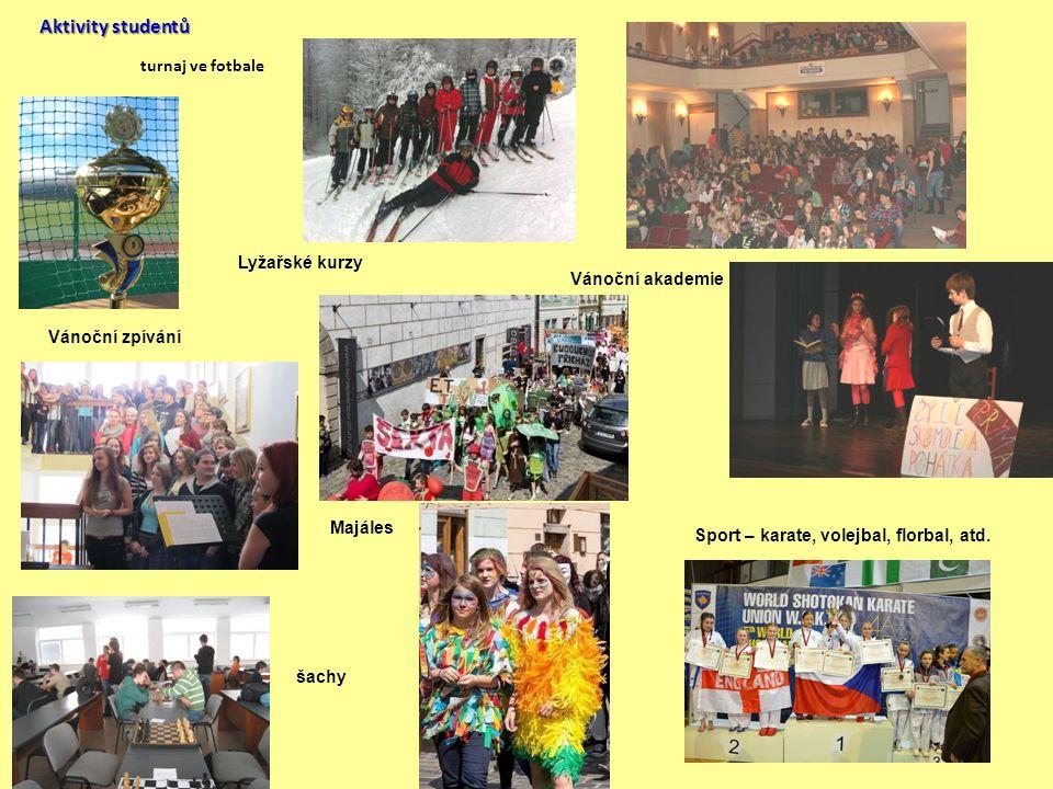 Aktivity studentů turnaj ve fotbale Vánoční akademie Vánoční zpívání Majáles šachy Sport – karate, volejbal, florbal, atd. Lyžařské kurzy