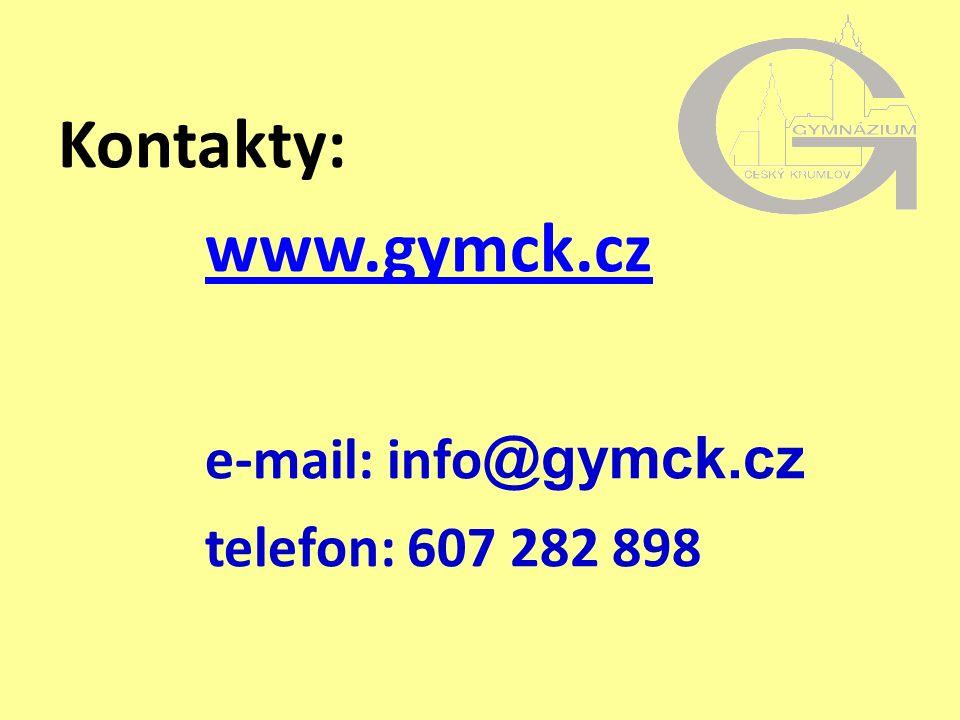 Kontakty: www.gymck.cz e-mail: info @gymck.cz telefon: 607 282 898