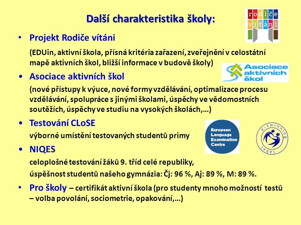 Další charakteristika školy: Projekt Rodiče vítáni (EDUin, aktivní škola, přísná kritéria zařazení, zveřejnění v celostátní mapě aktivních škol, bližší informace v budově školy) Asociace aktivních škol (nové přístupy k výuce, nové formy vzdělávání, optimalizace procesu vzdělávání, spolupráce s jinými školami, úspěchy ve vědomostních soutěžích, úspěchy ve studiu na vysokých školách,…) Testování CLoSE výborné umístění testovaných studentů primy NIQES celoplošné testování žáků 9.
