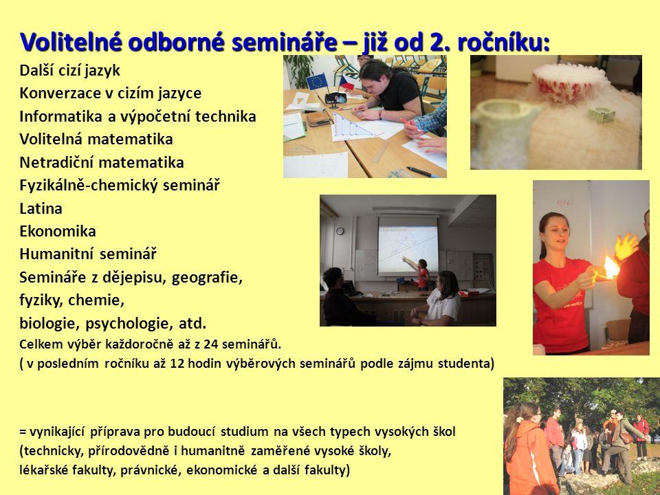 Volitelné odborné semináře – již od 2.