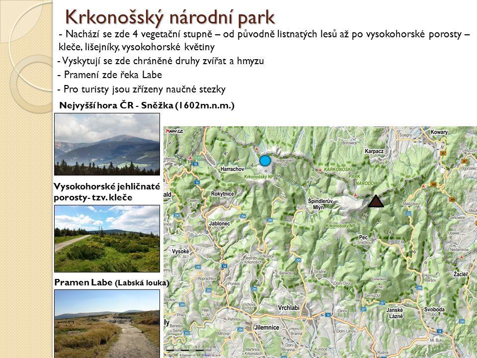 Krkonošský národní park - Nachází se zde 4 vegetační stupně – od původně listnatých lesů až po vysokohorské porosty – kleče, lišejníky, vysokohorské k