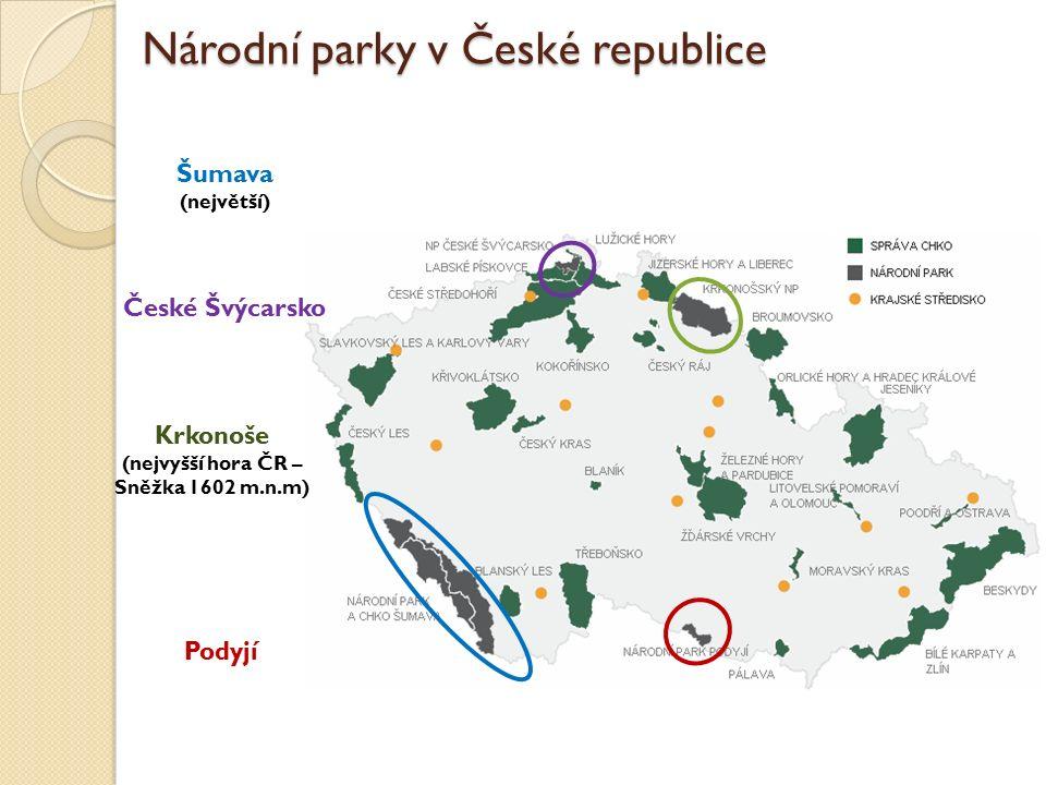 Národní parky v České republice Šumava (největší) České Švýcarsko Krkonoše (nejvyšší hora ČR – Sněžka 1602 m.n.m) Podyjí