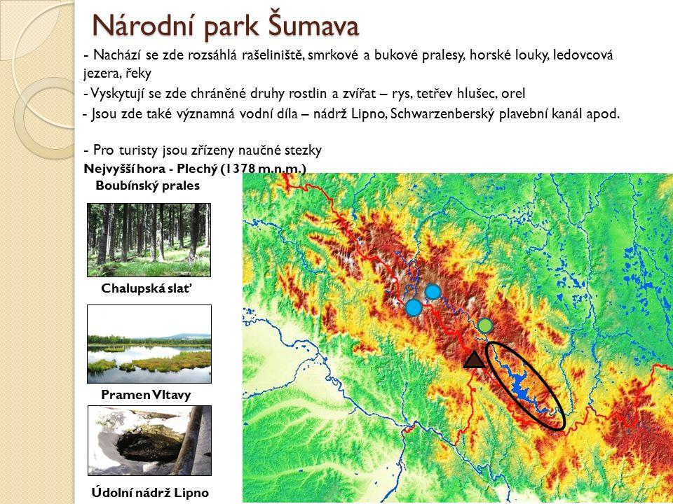 Národní park Šumava - Nachází se zde rozsáhlá rašeliniště, smrkové a bukové pralesy, horské louky, ledovcová jezera, řeky - Jsou zde také významná vod