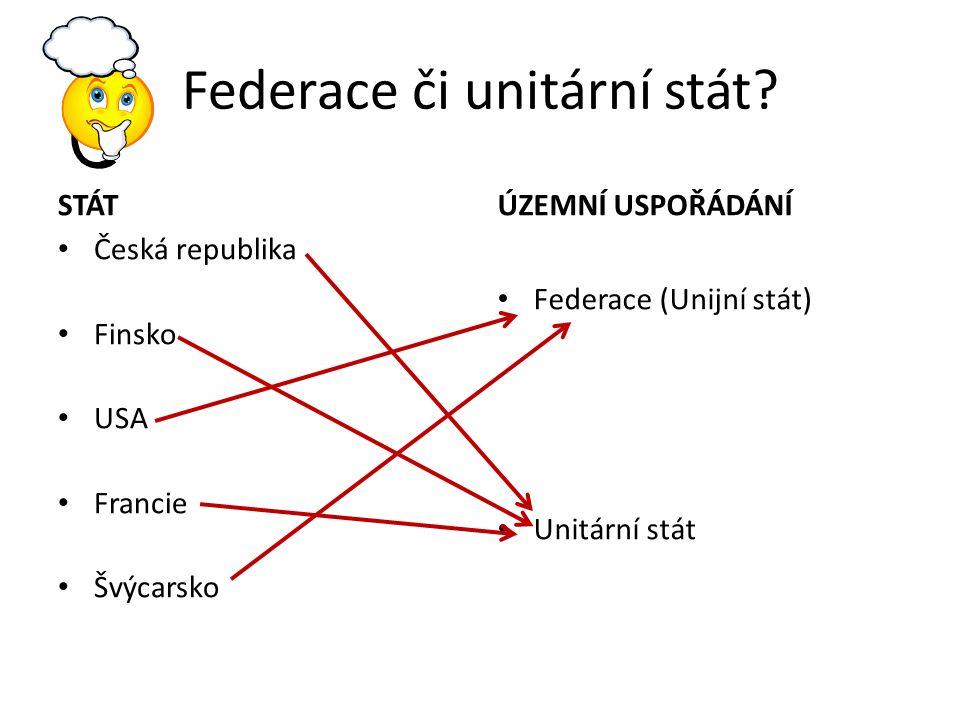 Federace či unitární stát.