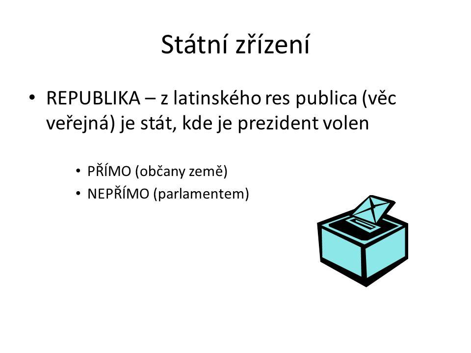 Státní zřízení REPUBLIKA – z latinského res publica (věc veřejná) je stát, kde je prezident volen PŘÍMO (občany země) NEPŘÍMO (parlamentem)