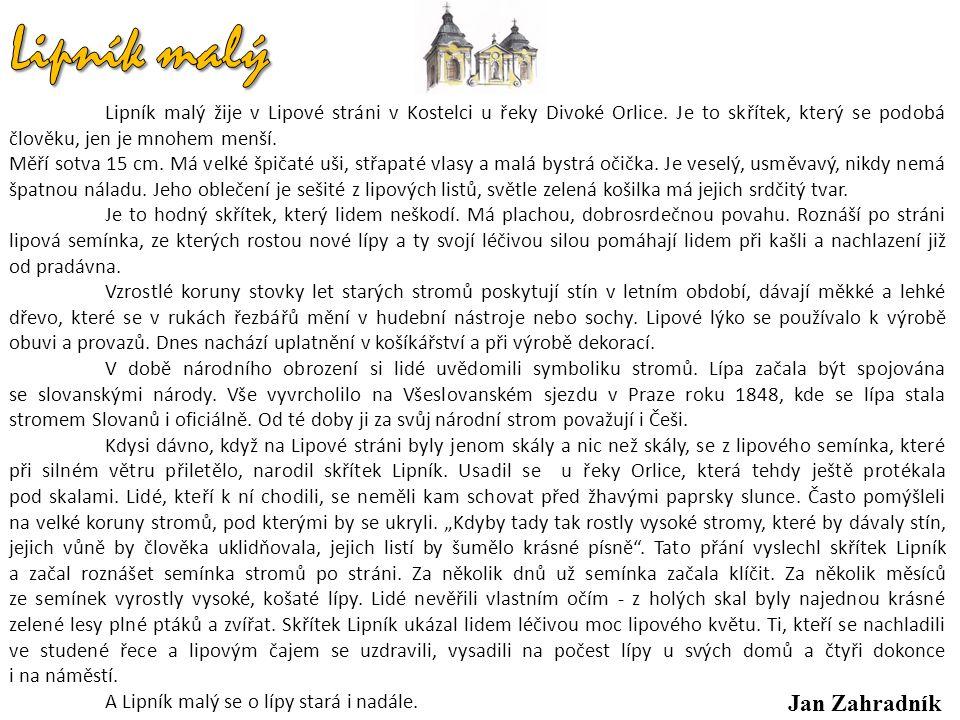 Lipník malý žije v Lipové stráni v Kostelci u řeky Divoké Orlice.