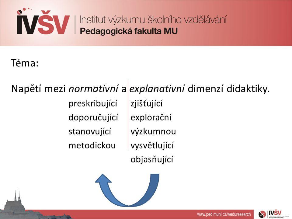Napětí mezi normativní a explanativní dimenzí didaktiky.
