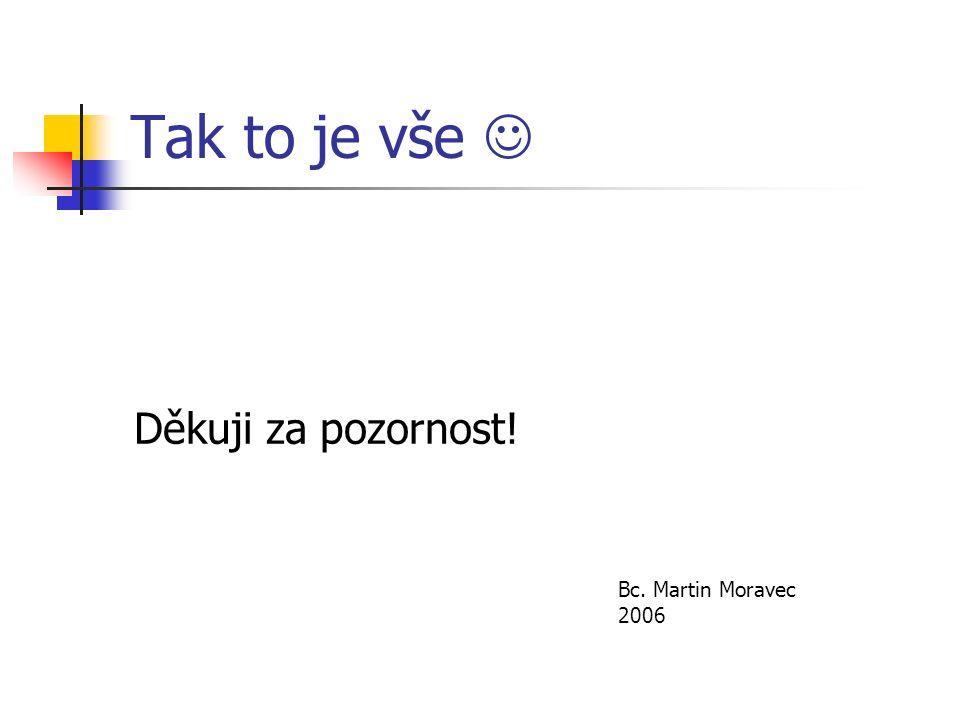 Tak to je vše Děkuji za pozornost! Bc. Martin Moravec 2006
