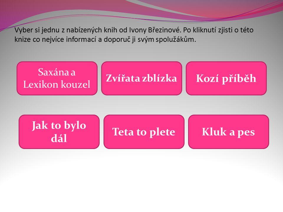 Vyber si jednu z nabízených knih od Ivony Březinové.