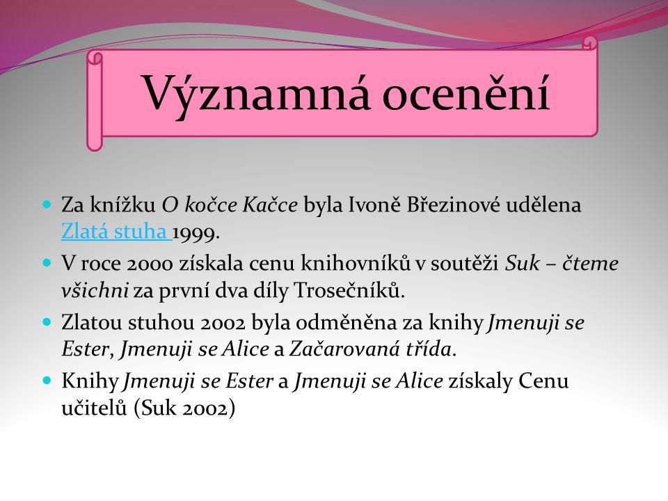 Významná ocenění Za knížku O kočce Kačce byla Ivoně Březinové udělena Zlatá stuha 1999.