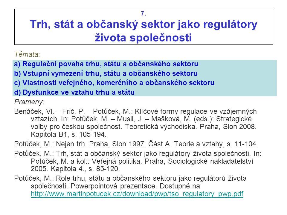 7. Trh, stát a občanský sektor jako regulátory života společnosti Témata: a) Regulační povaha trhu, státu a občanského sektoru b) Vstupní vymezení trh