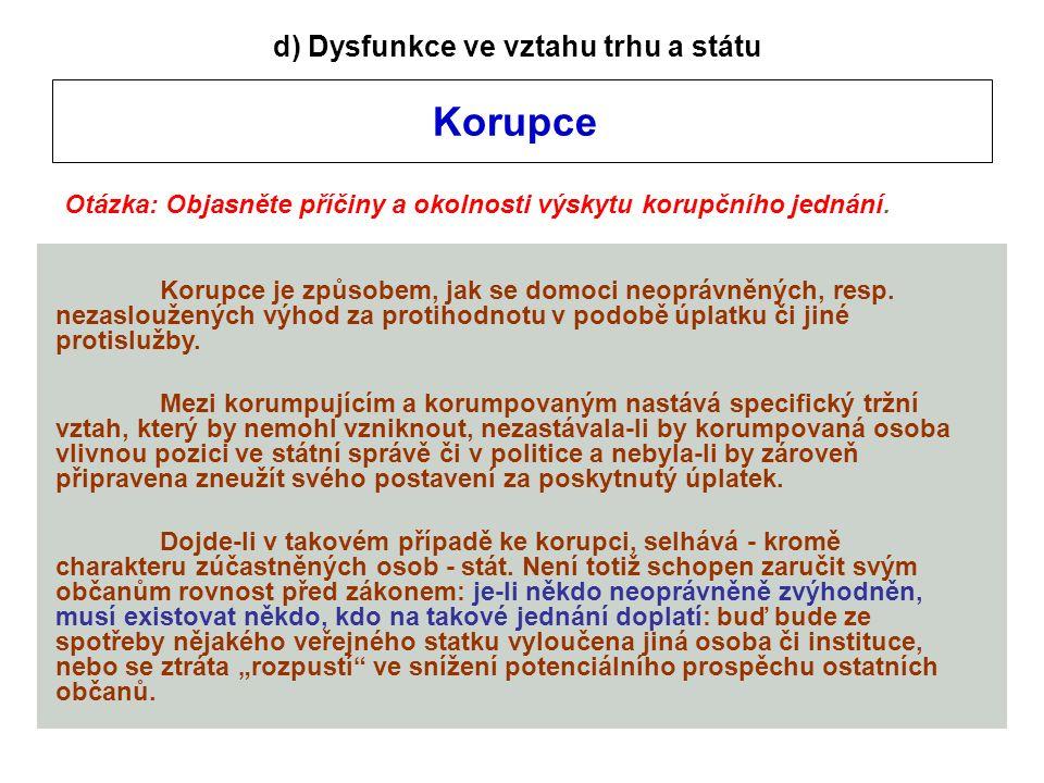 Korupce d) Dysfunkce ve vztahu trhu a státu Otázka: Objasněte příčiny a okolnosti výskytu korupčního jednání.