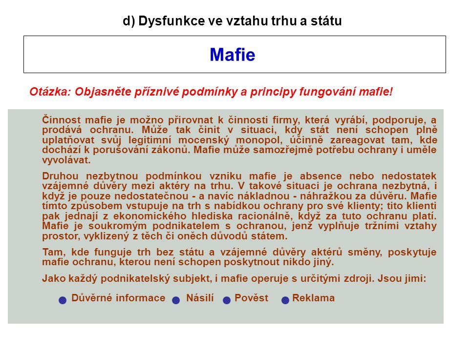 Mafie d) Dysfunkce ve vztahu trhu a státu Otázka: Objasněte příznivé podmínky a principy fungování mafie.