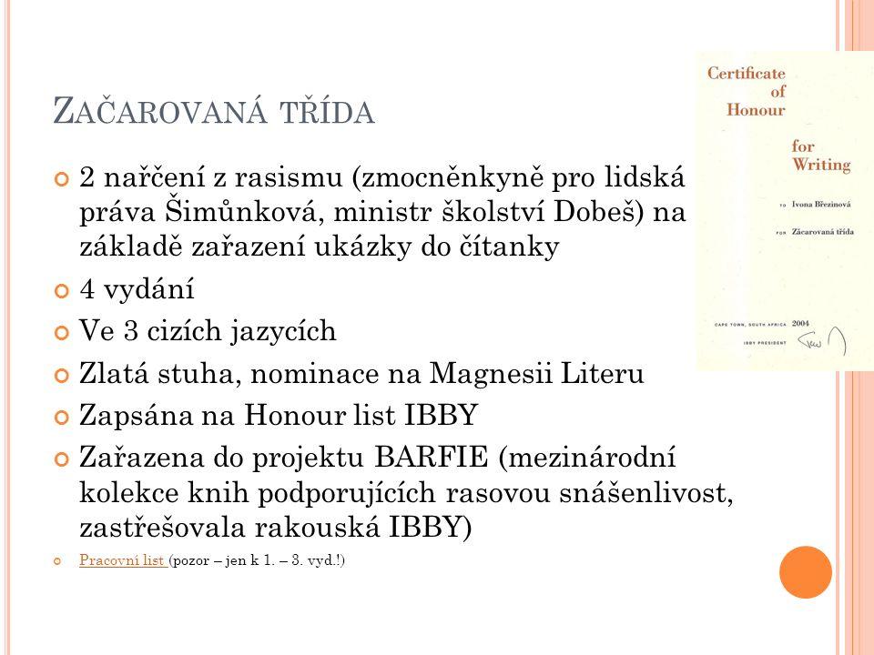 P ŘÍBĚHOVÁ PRÓZA PRO STARŠÍ ŠKOLNÍ VĚK Zrcátko pro Markétu (1996, 2009 jako Pomeranče v podprsence ) Panenka z ebenového dřeva (1997) Lauro, ty jsi ale číslo (1999) Praprázdniny (1999) Kde jsi, Pierote.