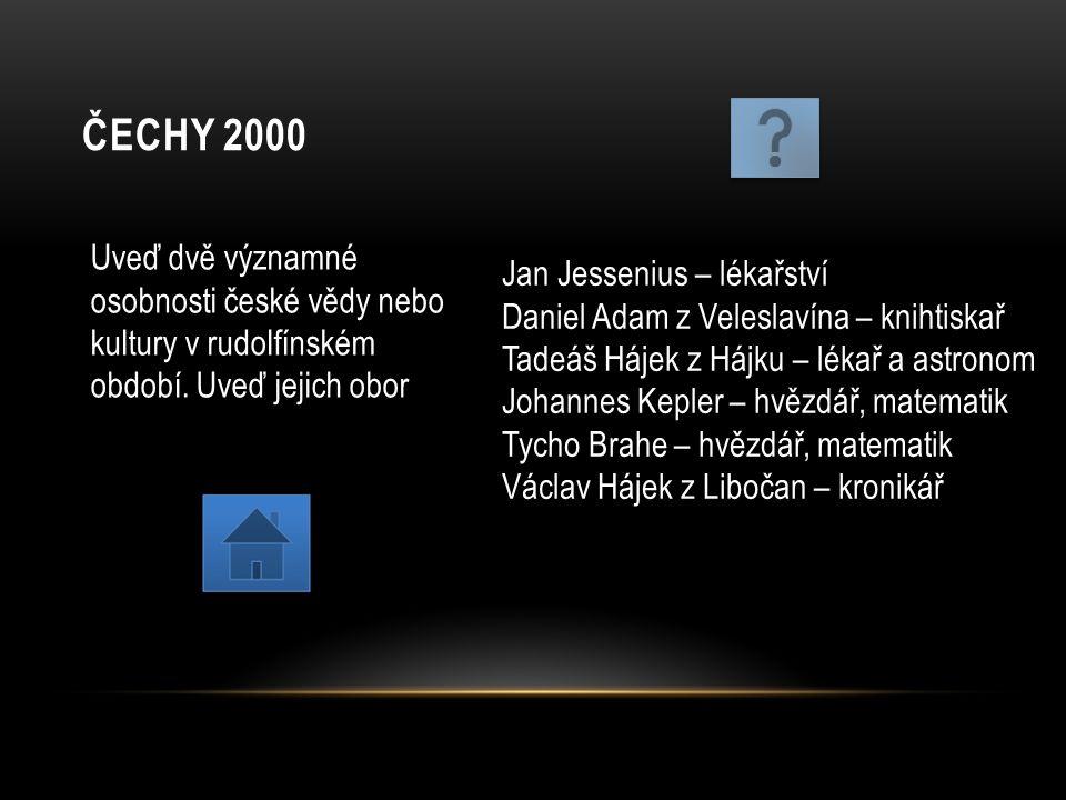 ČECHY 2000 Uveď dvě významné osobnosti české vědy nebo kultury v rudolfínském období. Uveď jejich obor Jan Jessenius – lékařství Daniel Adam z Velesla