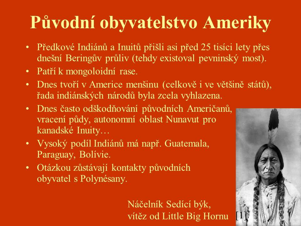 Původní obyvatelstvo Ameriky Předkové Indiánů a Inuitů přišli asi před 25 tisíci lety přes dnešní Beringův průliv (tehdy existoval pevninský most).