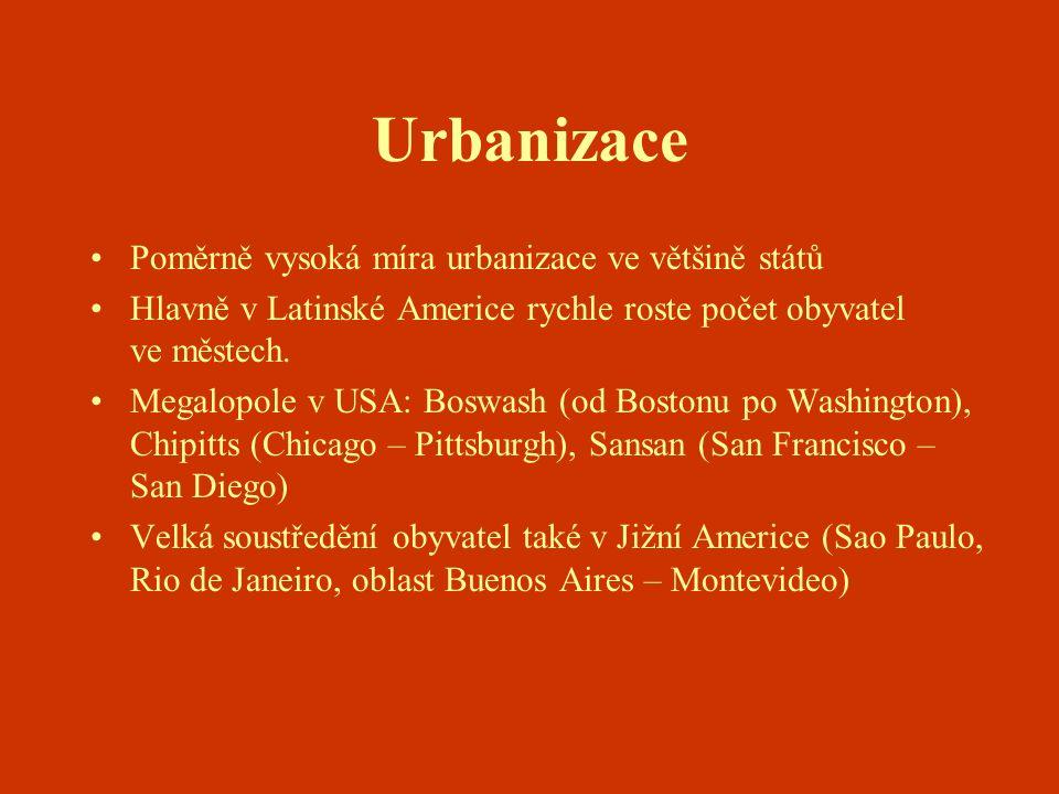 Urbanizace Poměrně vysoká míra urbanizace ve většině států Hlavně v Latinské Americe rychle roste počet obyvatel ve městech. Megalopole v USA: Boswash