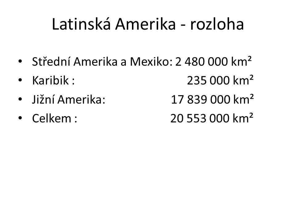 Latinská Amerika - rozloha Střední Amerika a Mexiko: 2 480 000 km² Karibik : 235 000 km² Jižní Amerika: 17 839 000 km² Celkem : 20 553 000 km²