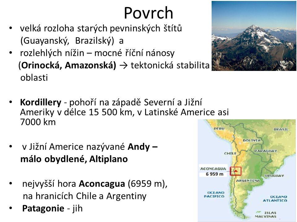 Povrch velká rozloha starých pevninských štítů (Guayanský, Brazilský) a rozlehlých nížin – mocné říční nánosy (Orinocká, Amazonská) → tektonická stabilita oblasti Kordillery - pohoří na západě Severní a Jižní Ameriky v délce 15 500 km, v Latinské Americe asi 7000 km v Jižní Americe nazývané Andy – málo obydlené, Altiplano nejvyšší hora Aconcagua (6959 m), na hranicích Chile a Argentiny Patagonie - jih