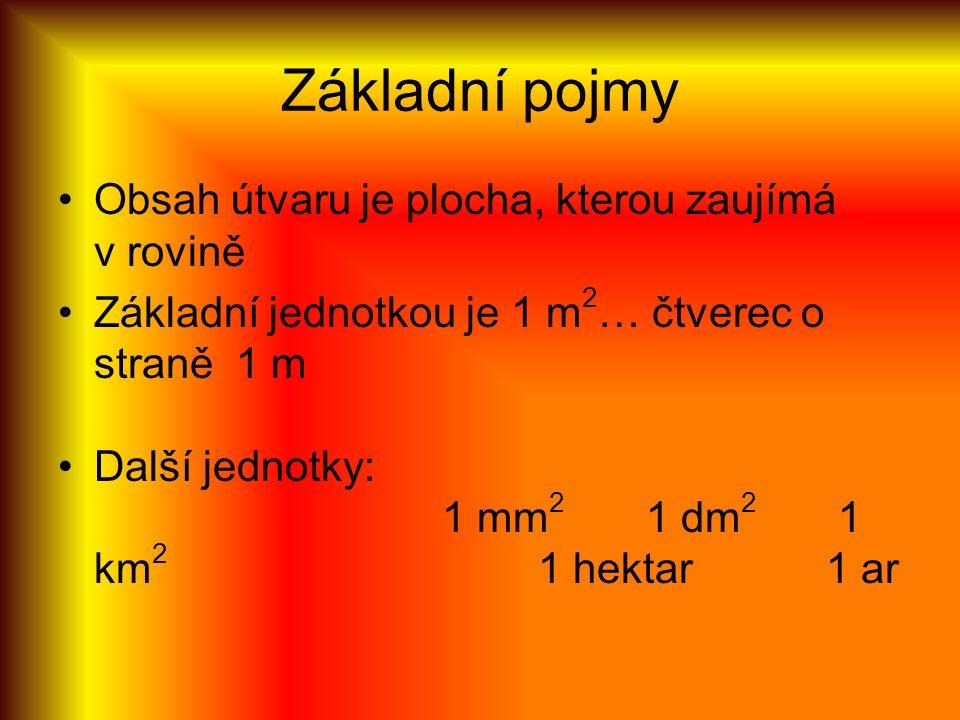 Základní pojmy Obsah útvaru je plocha, kterou zaujímá v rovině Základní jednotkou je 1 m 2 … čtverec o straně 1 m Další jednotky: 1 mm 2 1 dm 2 1 km 2