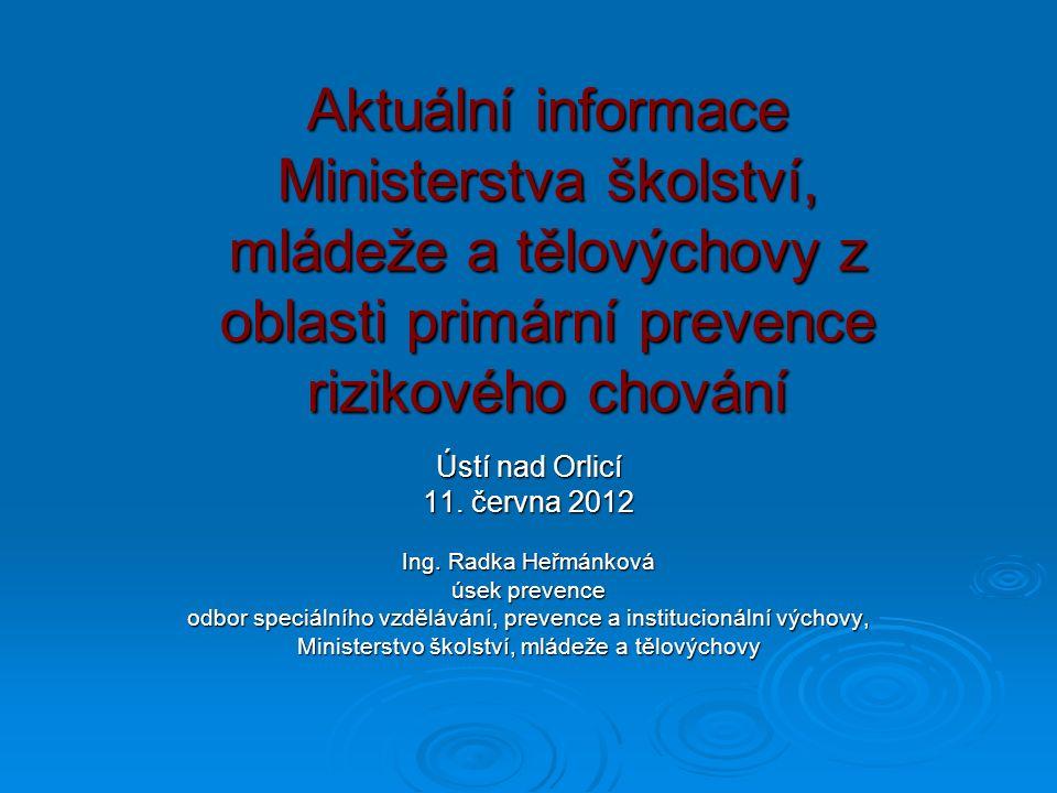 Aktuální informace Ministerstva školství, mládeže a tělovýchovy z oblasti primární prevence rizikového chování Ústí nad Orlicí 11.