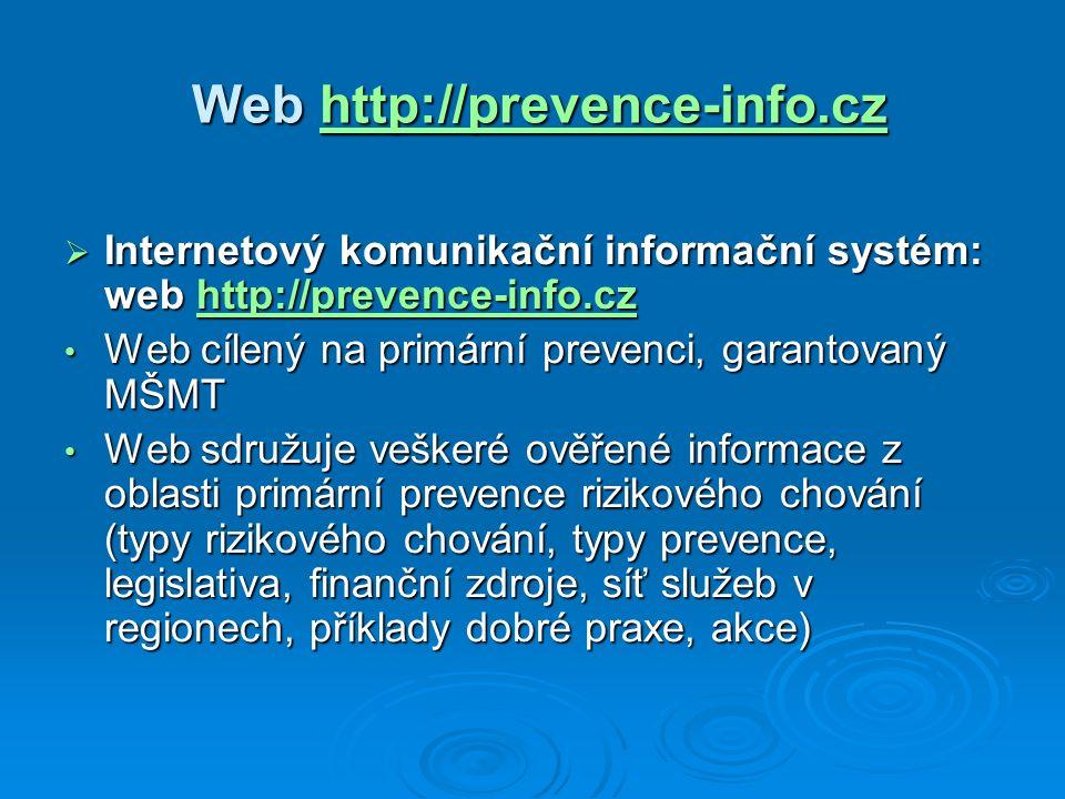 Web http://prevence-info.cz Web http://prevence-info.czhttp://prevence-info.cz  Internetový komunikační informační systém: web http://prevence-info.cz http://prevence-info.cz Web cílený na primární prevenci, garantovaný MŠMT Web cílený na primární prevenci, garantovaný MŠMT Web sdružuje veškeré ověřené informace z oblasti primární prevence rizikového chování (typy rizikového chování, typy prevence, legislativa, finanční zdroje, síť služeb v regionech, příklady dobré praxe, akce) Web sdružuje veškeré ověřené informace z oblasti primární prevence rizikového chování (typy rizikového chování, typy prevence, legislativa, finanční zdroje, síť služeb v regionech, příklady dobré praxe, akce)