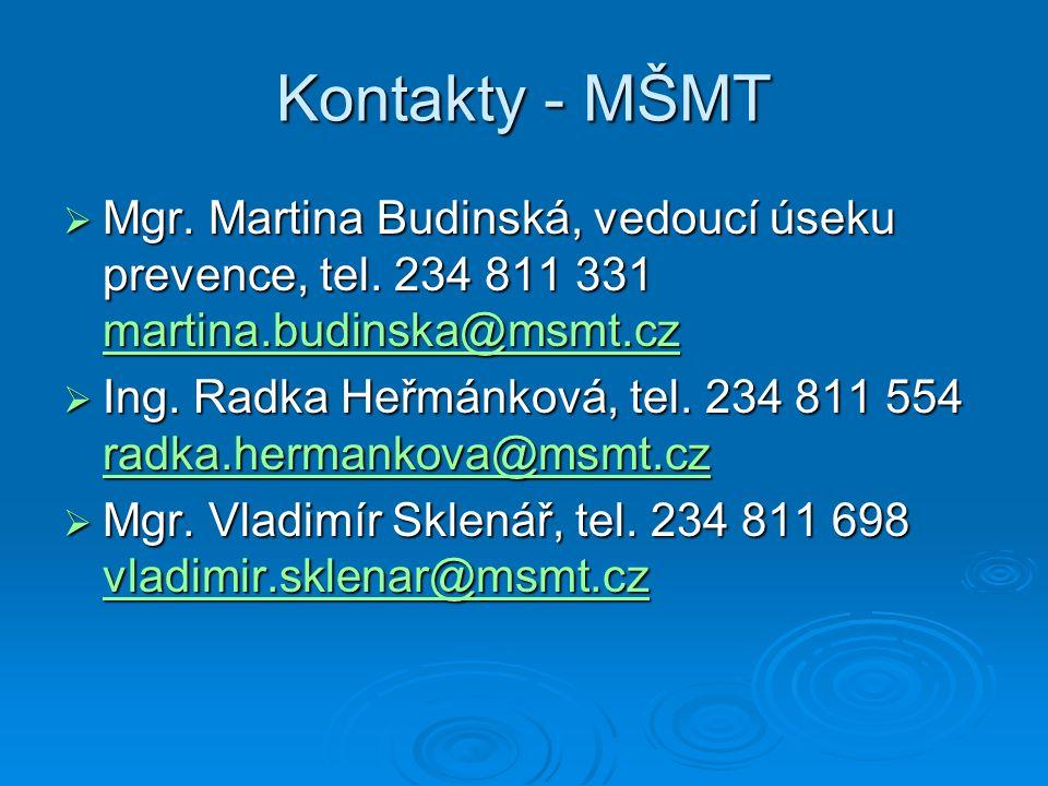 Kontakty - MŠMT  Mgr. Martina Budinská, vedoucí úseku prevence, tel.