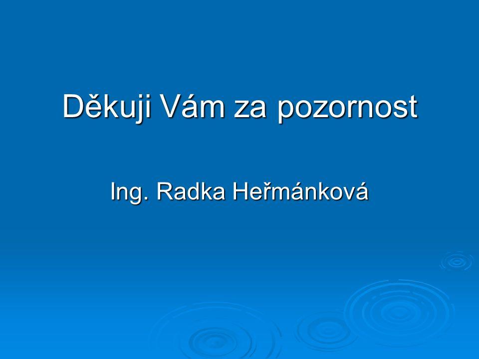 Děkuji Vám za pozornost Ing. Radka Heřmánková