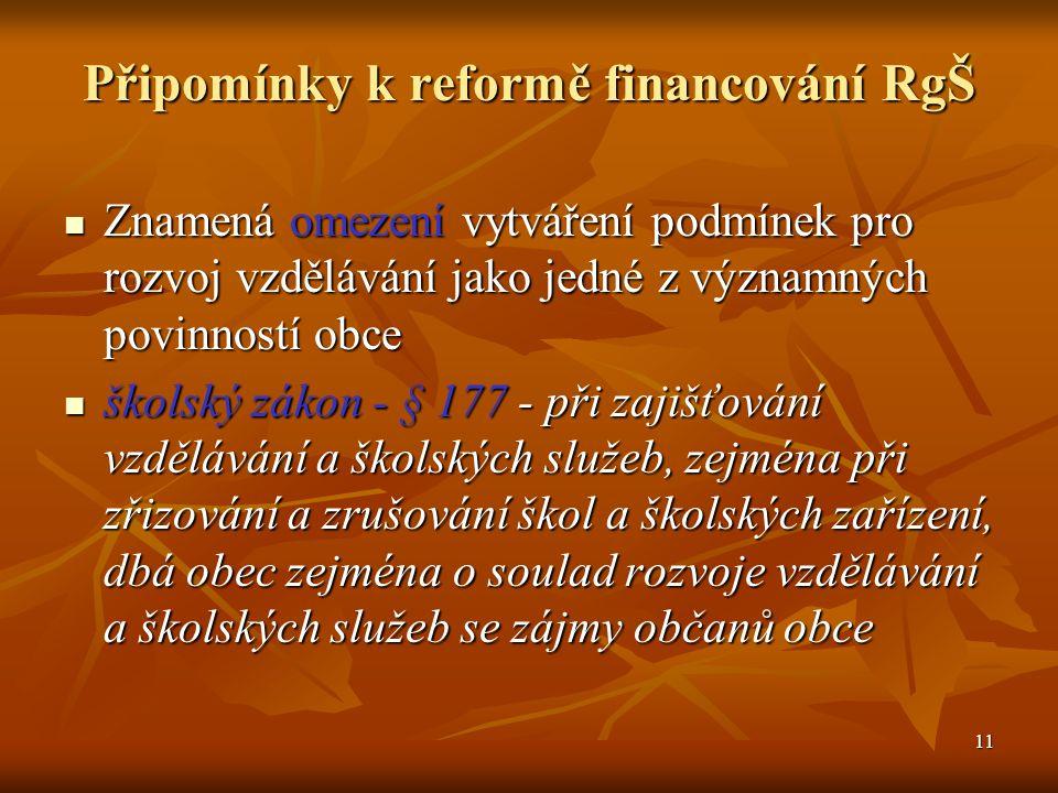 11 Připomínky k reformě financování RgŠ Znamená omezení vytváření podmínek pro rozvoj vzdělávání jako jedné z významných povinností obce Znamená omezení vytváření podmínek pro rozvoj vzdělávání jako jedné z významných povinností obce školský zákon - § 177 - při zajišťování vzdělávání a školských služeb, zejména při zřizování a zrušování škol a školských zařízení, dbá obec zejména o soulad rozvoje vzdělávání a školských služeb se zájmy občanů obce školský zákon - § 177 - při zajišťování vzdělávání a školských služeb, zejména při zřizování a zrušování škol a školských zařízení, dbá obec zejména o soulad rozvoje vzdělávání a školských služeb se zájmy občanů obce