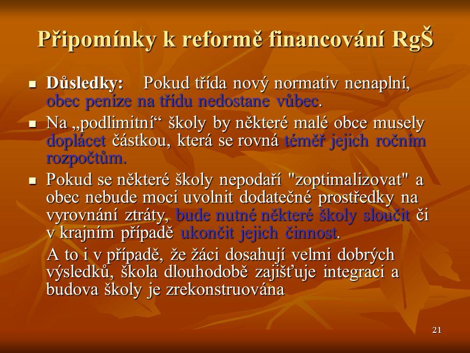 21 Připomínky k reformě financování RgŠ Důsledky: Pokud třída nový normativ nenaplní, obec peníze na třídu nedostane vůbec.