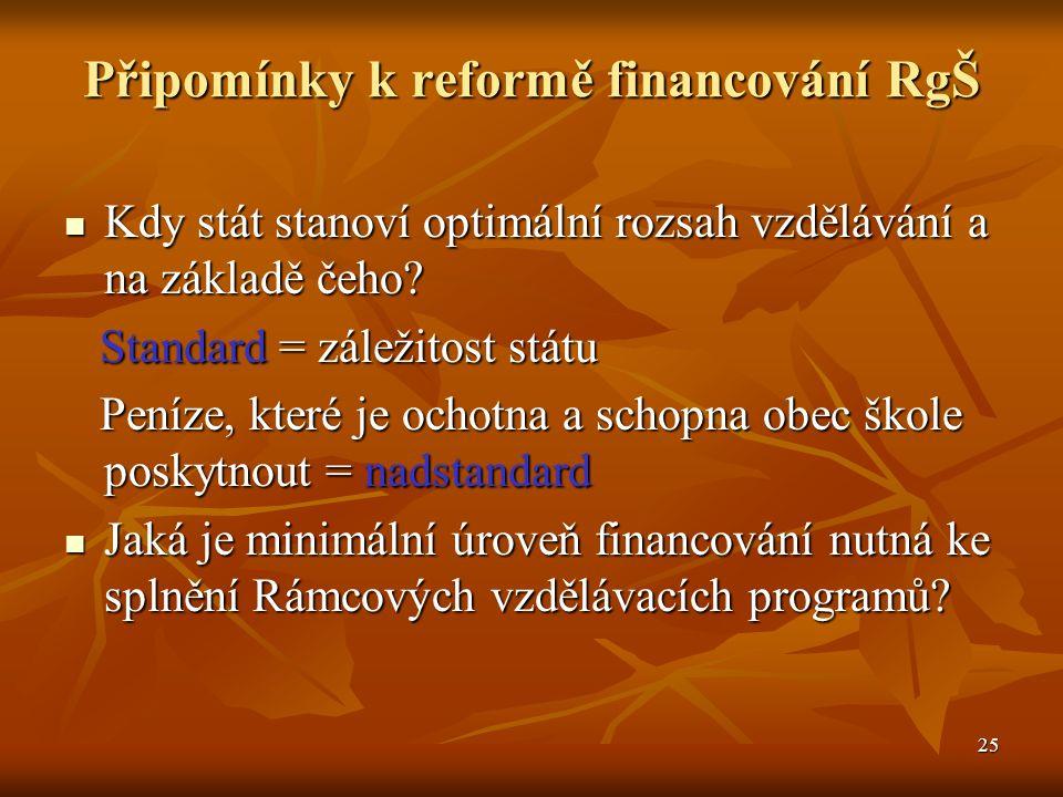 25 Připomínky k reformě financování RgŠ Kdy stát stanoví optimální rozsah vzdělávání a na základě čeho.