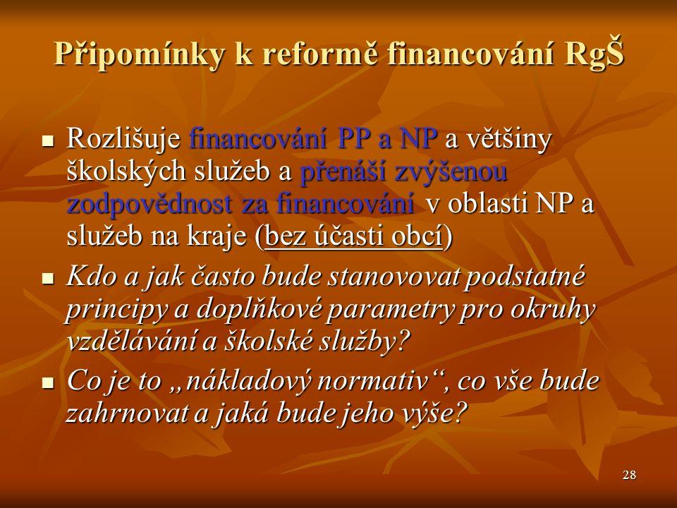 28 Připomínky k reformě financování RgŠ Rozlišuje financování PP a NP a většiny školských služeb a přenáší zvýšenou zodpovědnost za financování v oblasti NP a služeb na kraje (bez účasti obcí) Rozlišuje financování PP a NP a většiny školských služeb a přenáší zvýšenou zodpovědnost za financování v oblasti NP a služeb na kraje (bez účasti obcí) Kdo a jak často bude stanovovat podstatné principy a doplňkové parametry pro okruhy vzdělávání a školské služby.