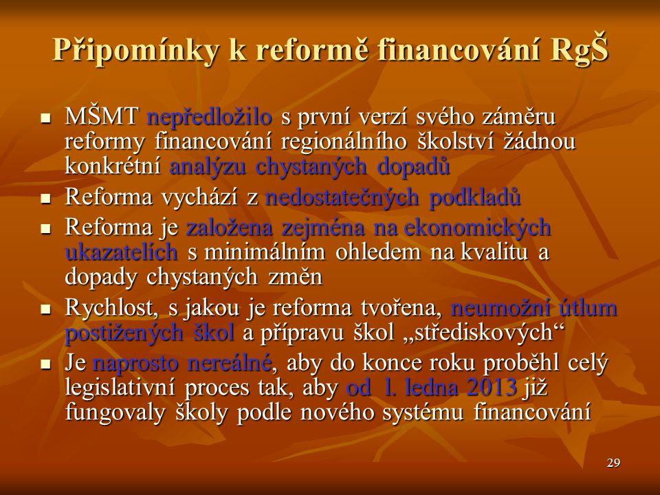 """29 Připomínky k reformě financování RgŠ MŠMT nepředložilo s první verzí svého záměru reformy financování regionálního školství žádnou konkrétní analýzu chystaných dopadů MŠMT nepředložilo s první verzí svého záměru reformy financování regionálního školství žádnou konkrétní analýzu chystaných dopadů Reforma vychází z nedostatečných podkladů Reforma vychází z nedostatečných podkladů Reforma je založena zejména na ekonomických ukazatelích s minimálním ohledem na kvalitu a dopady chystaných změn Reforma je založena zejména na ekonomických ukazatelích s minimálním ohledem na kvalitu a dopady chystaných změn Rychlost, s jakou je reforma tvořena, neumožní útlum postižených škol a přípravu škol """"střediskových Rychlost, s jakou je reforma tvořena, neumožní útlum postižených škol a přípravu škol """"střediskových Je naprosto nereálné, aby do konce roku proběhl celý legislativní proces tak, aby od l."""